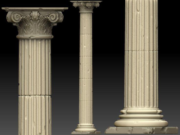 Beautiful ancient 3D pillar