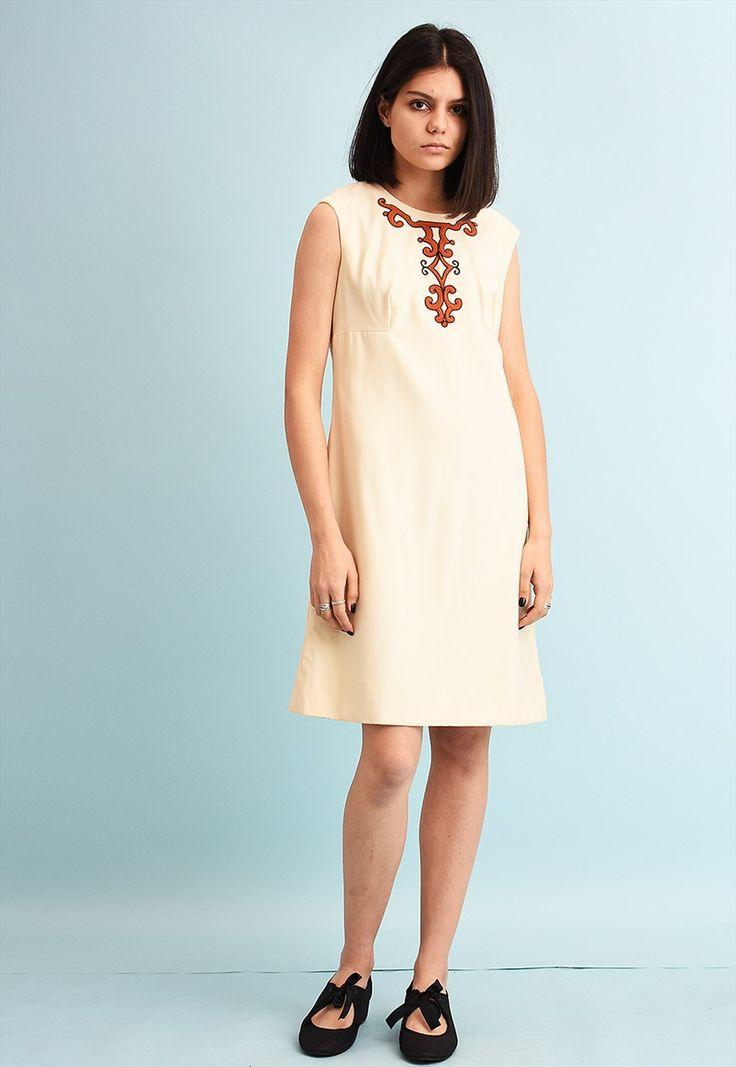 70's retro folk classic cut neutral mini dress | Vintaholic | ASOS Marketplace