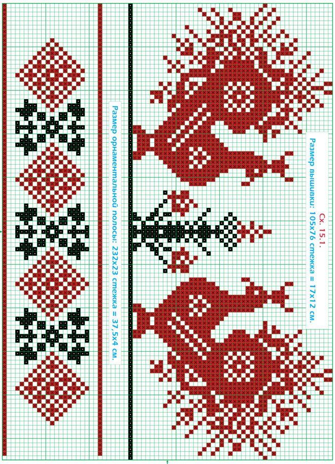 Бесплатная схема вышивания крестом рушника с птичками в черно-красных цветах.