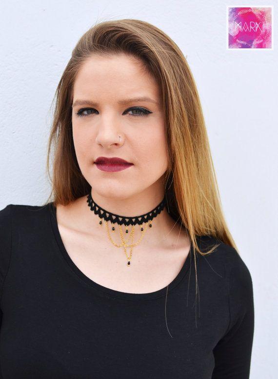 Choker necklace lace necklace black choker trendy by MarKiJewelry