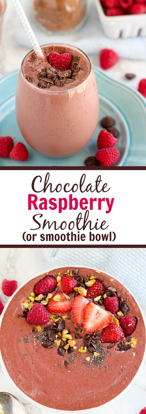 Chocolate Raspberry Smoothie - A lightly sweetened smoothie flavored with chocolate and raspberries. Filled with fruit, protein, and plenty of chocolate, this smoothie can be enjoyed for breakfast or as a healthy dessert.