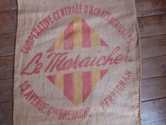 Antique French jute bag hessian burlap sack w red stamp Perpignan, vintage linens France, rustic fabric for sewing , upholstery, patchwork. $54.99, via Etsy.