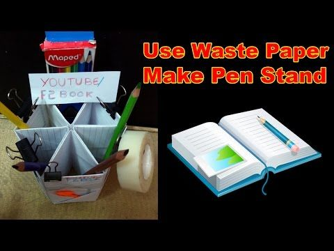 Use Waste Paper to Beautiful Pen Holder || Full Video At F2BOOK Video 91 - YouTube