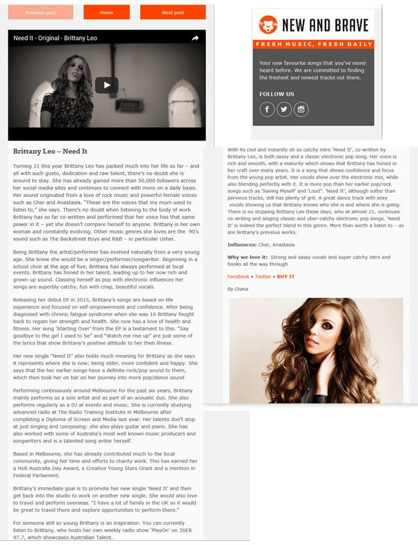 Thank you so much to New and Brave for this article on my new song 'Need It' and my journey so far :)  https://tmblr.co/Z-OtIf2KT6huL