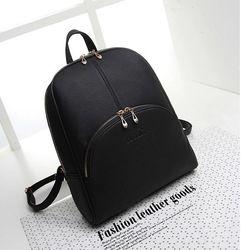 Online Shop 2015 New vintage shoulder student school bag PU leather Black and Brown backpack Brand designer fashion women travel rucksack Aliexpress Mobile