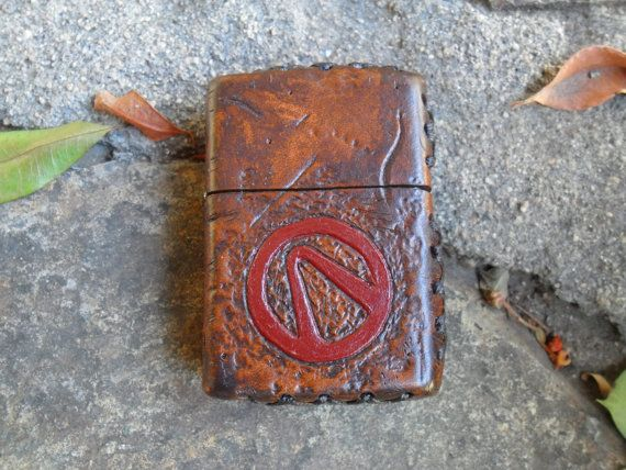 Wasteland Leather Hand Tooled, Distressed & Painted Borderlands Custom Zippo Lighter
