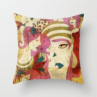 Heads Throw Pillow by Helena Hotzl - $20.00