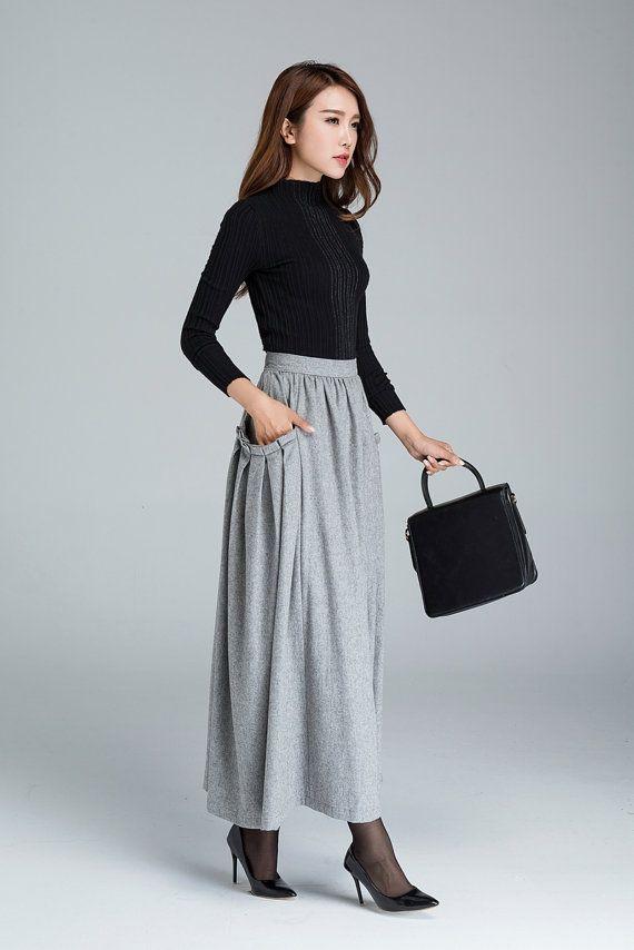 falda de lana maxi falda falda gris clara las mujeres
