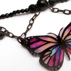 Trending now - black jewelry! We love this black butterfly made with Shrink plastic! Add black chain and beads and you have perfect accessory for this season!