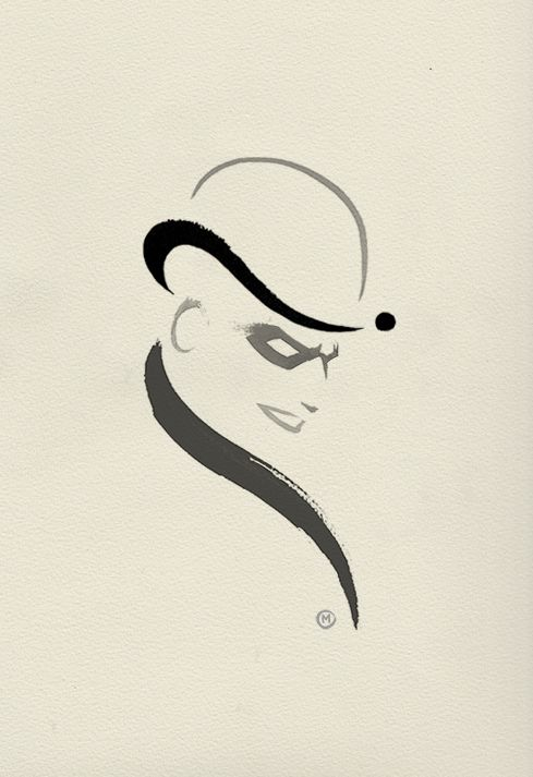 Riddler ink doodle from Olly Moss