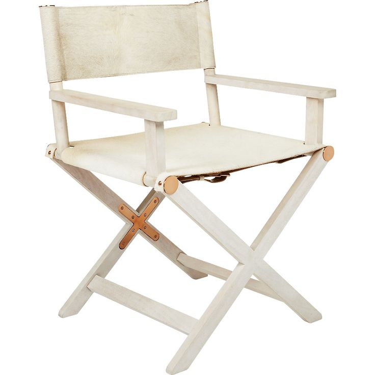Shop curator white directors chair. Designed by Felipe Hidalgo for ellenbergerdesign, the classic director's chair steals the scene in white cowhide wrapped around a solid x-shaped wood frame.