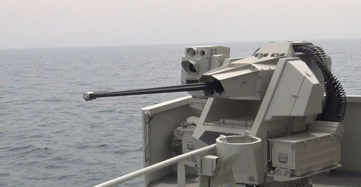 Turkish Aselsan SMASH 30mm remote controlled stabilised naval gun system. SMASH is a remotely operated stabilized weapon station fitted with 30mm Mk44 Bushmaster-II Canon.