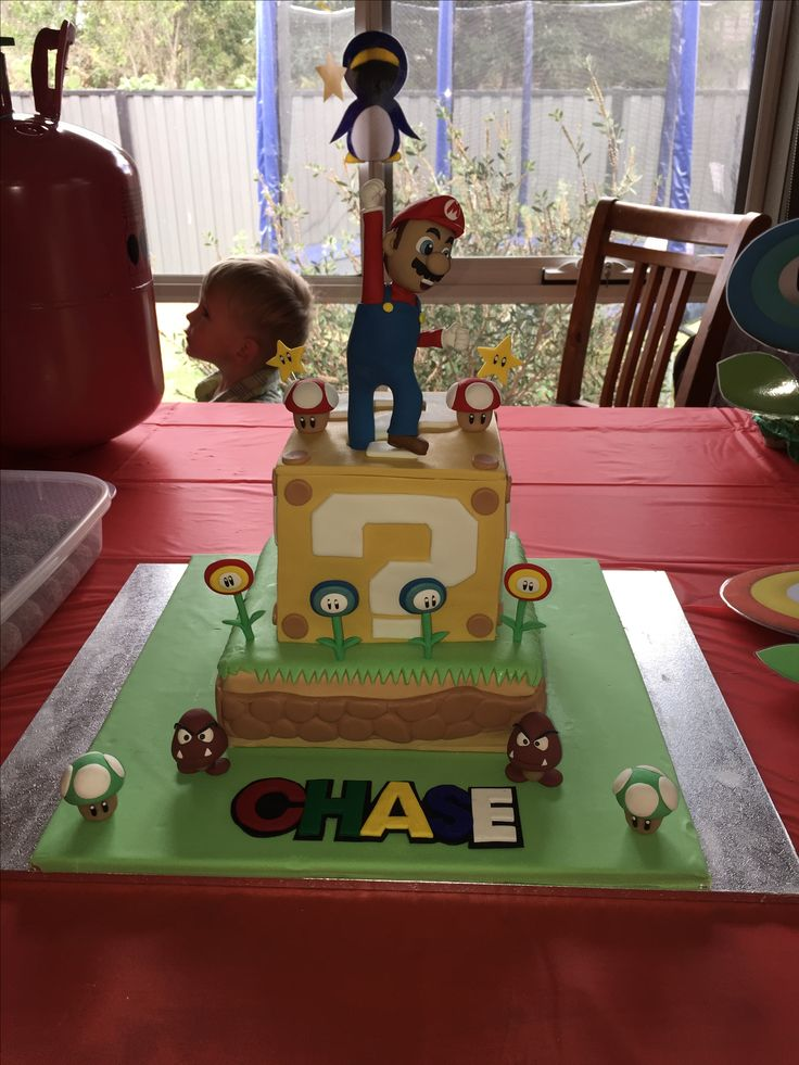 Sample Mario themed cake using polymer clay cake topper set