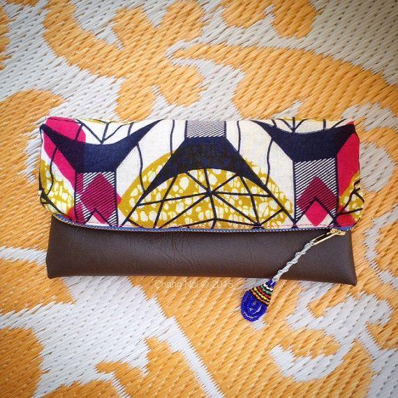African Wax Print Clutch Bag  Pink Ghanaian Wax Print by ChangNoii