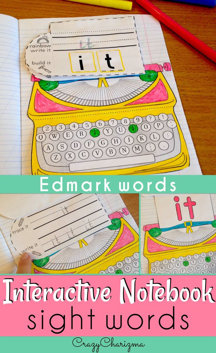 Looking for a fun way to practice Edmark words? Use these typewriters - interactive notebooks to practice Level 1 words. | CrazyCharizma @ https://www.teacherspayteachers.com/Store/Crazycharizma