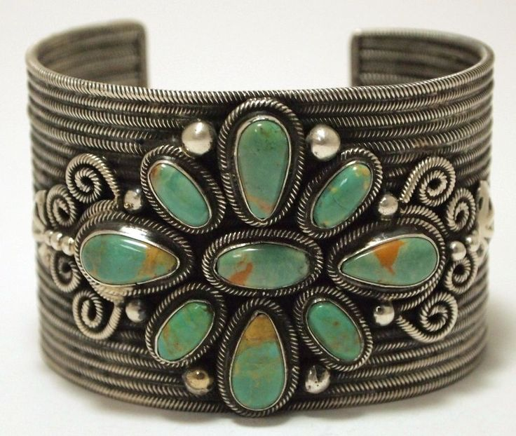 Old Pawn Navajo Green Fox Turquoise Sterling Silver Cuff Bracelet - Loranzo James