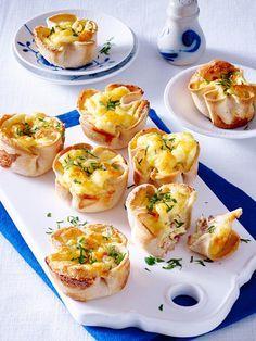 Toastmuffins mit Käse-Schinken-Füllung