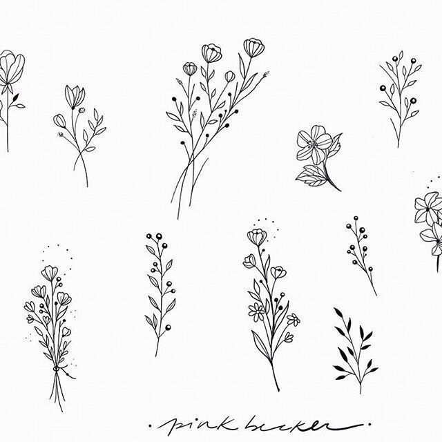 Simple Flower Of The Month Of Each Sister Small Flower Drawings Wildflower Tattoo Flower Tattoo Designs