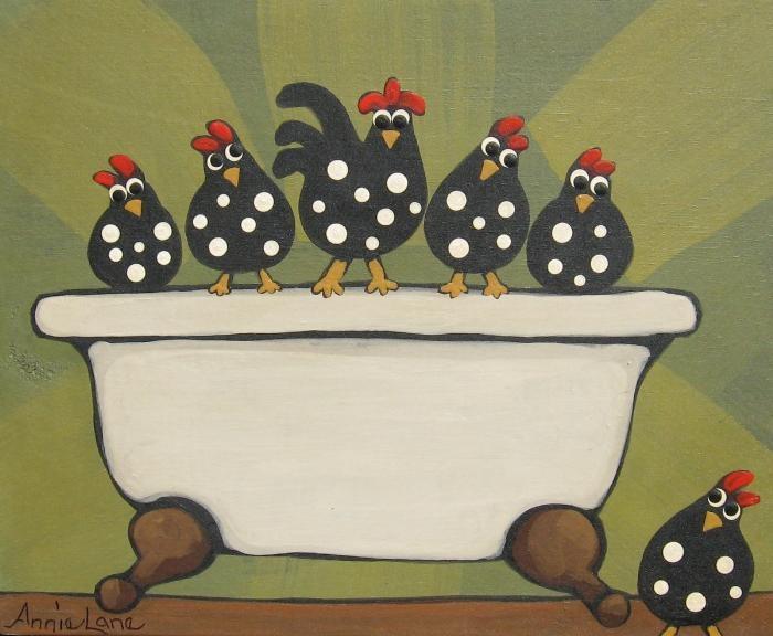 """ Tub o Chicken "" Whimsical Chickens Art by Annie Lane www.yessy.com/annielane"