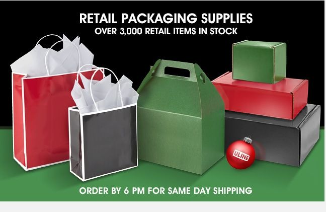 Uline - RETAIL Packaging Supplies Over 3,000 Retail Items In Stock - ORDER BY 6 PM FOR SAME DAY SHIPPING