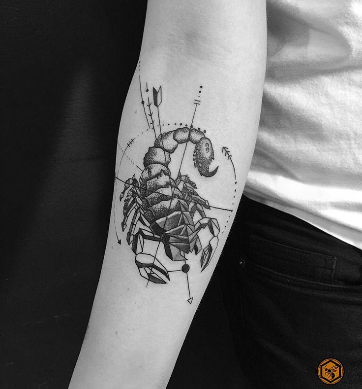 Geometric scorpion tattoo By Man Yao