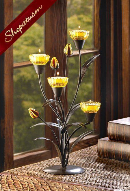 20 Yellow Candle Holders Tiger Lily Wedding Centerpiece