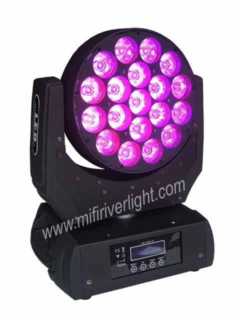 F-19-20 - 19*20W RGBW OSRAM 4in1 Wash/Beam Moving Head ‐ 19pcs of OSRAM 20W RGBW 4in1 LED in 3 Groups ‐ Beam angle: 8 Degrees ‐ Pan: 545°, Tilt: 270° ‐ Digital Strobe & Dimmer: 0‐100% ‐ DMX Channels: 11/15 ‐ Music, Automatic, Master‐Slave Operation