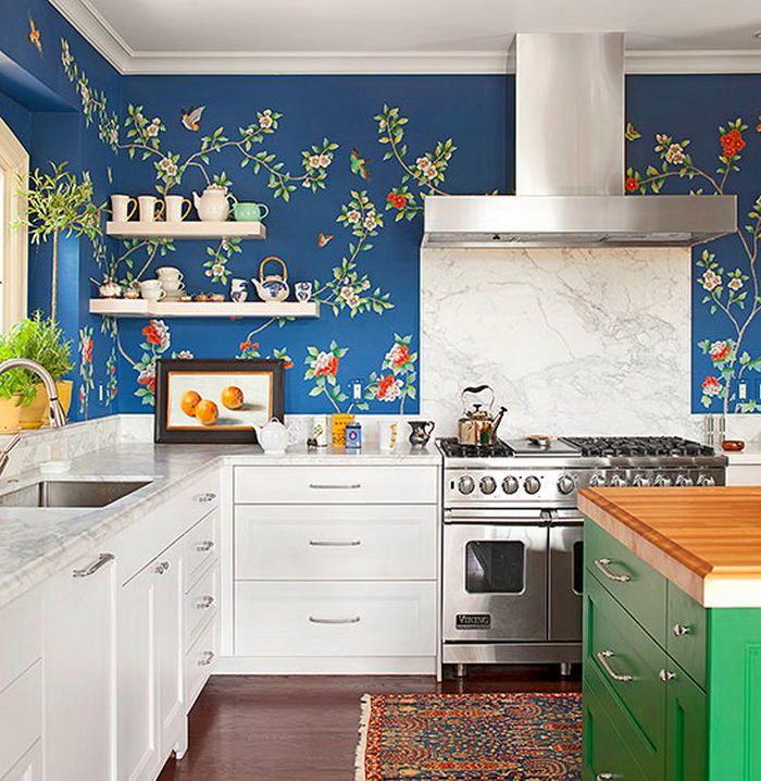 Кухня в цветах: бирюзовый, серый, светло-серый, белый, темно-зеленый. Кухня в .