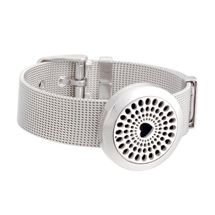 Metal Mesh Band Heart Aromatherapy Diffuser Locket Bracelet