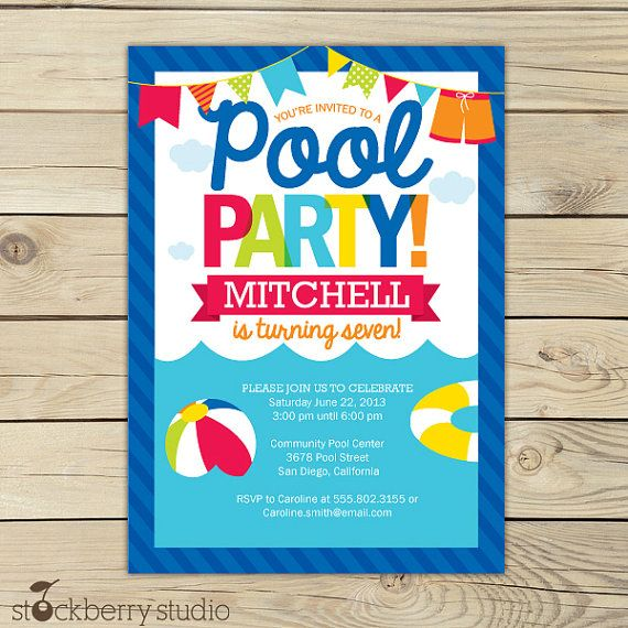 Pool Party Birthday Printable Party Invitation 5x7 Red, Yellow, Orange, Aqua Blue, Navy Blue