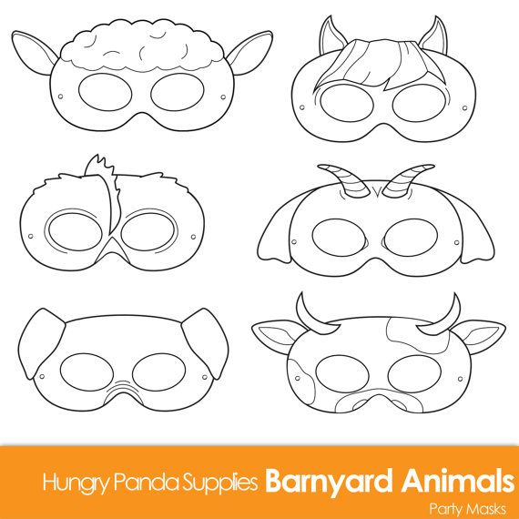 Barnyard Animals Printable Masks, black and white masks, farm animal mask, farm animals costume