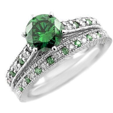 2 01 Carat Vs2 Round Green Diamond Matching Engagement Ring Wedding Band Bridal Set 14k White