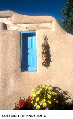 Pueblo Indian legend says blue windows and doors help keep evil spirits out of their home.