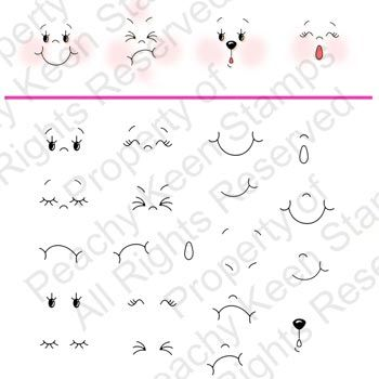 PK-943 Funshine Face Parts 3″ – 4″ dolls: Peachy Keen Stamps | Home of the original clear, peach-tinted, high-quality whimsical face stamps.