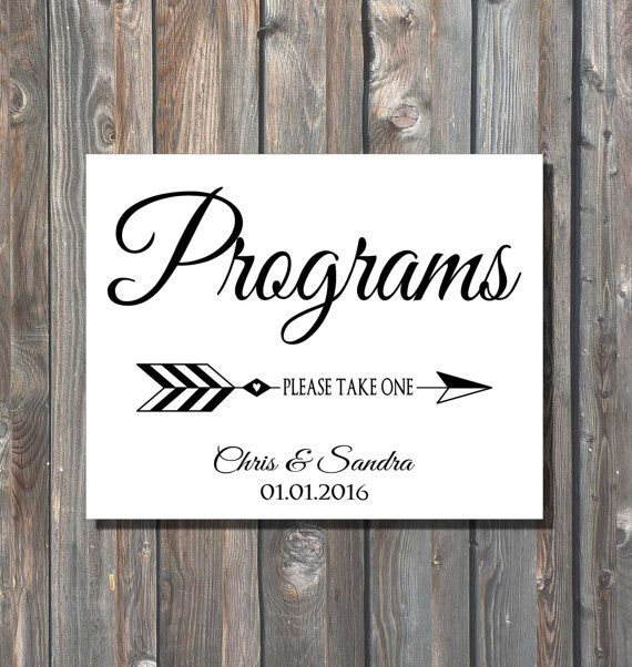 Personalized Wedding Programs Sign-Please Take One Programs Sign-Wedding Calligraphy-DIY Wedding Programs Sign-Elegant Wedding Sign