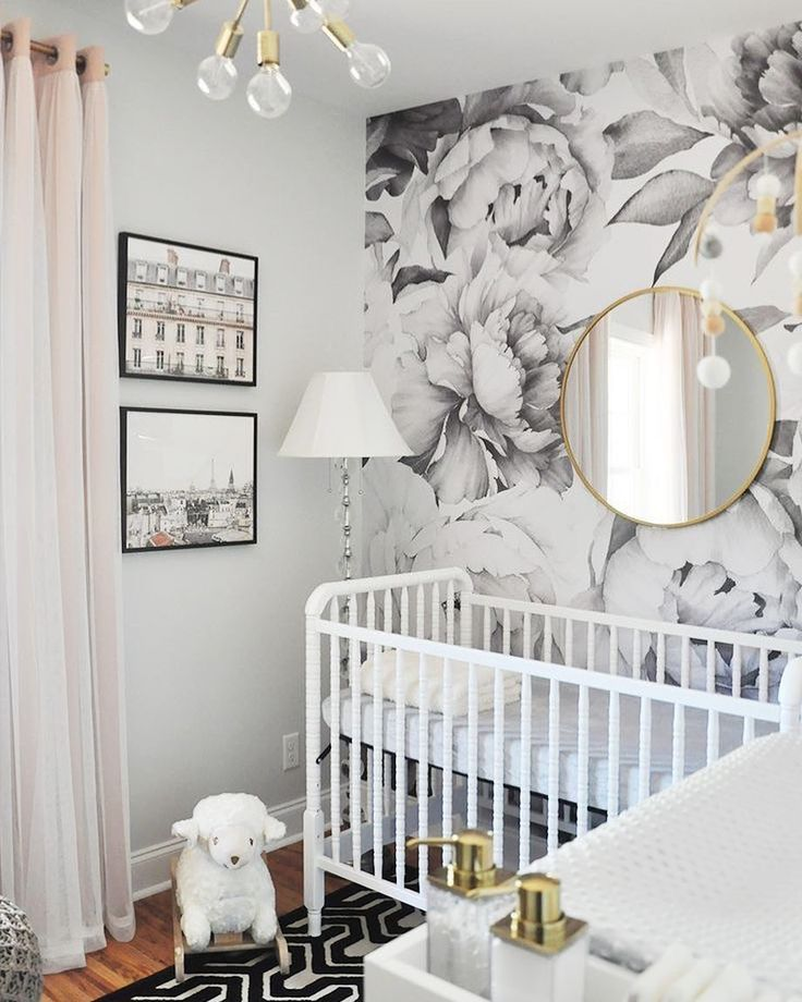 So amazing!!! My favorite colors to keep me &  calm!!! This baby girl nursery is cute and stylish, with that black and white floral wallpaper and the goldish item.
