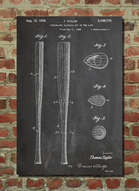 Vintage Baseball Bat 1939 Patent Poster, Vintage Sports, Boys Room Wall Decor, Baseball Coach Gift, Baseball Wall Art, PP89