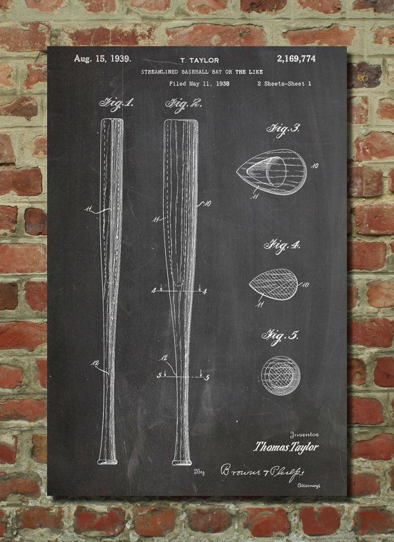 Baseball Bat Patent 1938 Wall Art Poster by PatentPrints on Etsy, $6.99