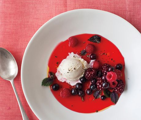 MIxed Berry Gazpacho with Basil and Vanilla Ice Cream: Desserts, Food Recipes, Ba Daily, Berries Recipes, Enjoy Your Meal, Mixed Berries, Basil Recipes, Berries Gazpacho, Red Food