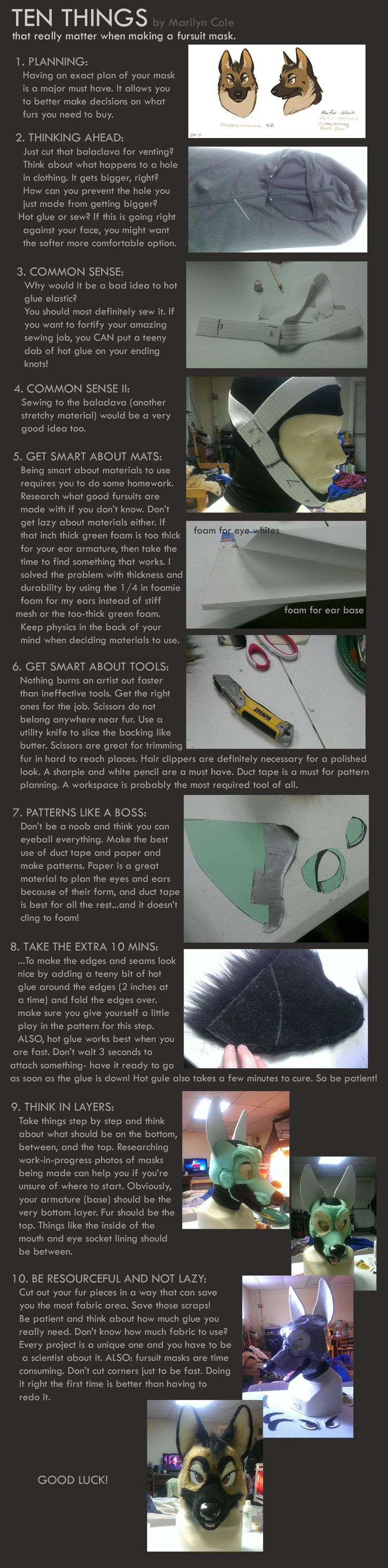 TEN THINGS - Tips on Making a fursuit mask by Katmomma on deviantART