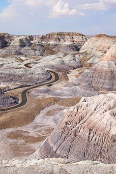 Blue Mesa Trail in the Petrified Forest National Park in Arizona takes you down into the Painted Desert.
