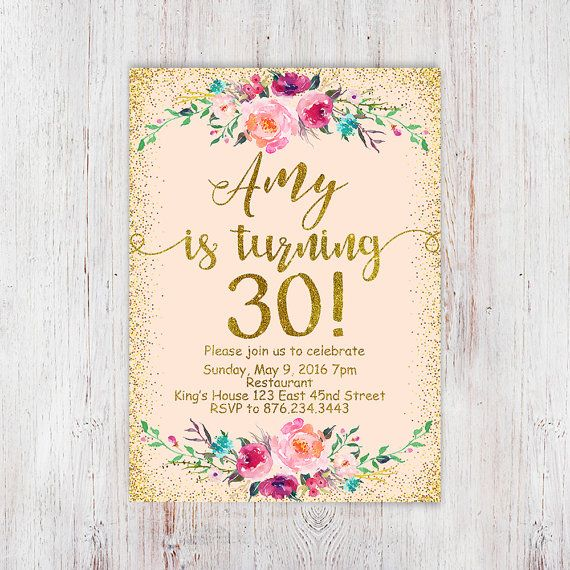 30th birthday invitations Birthday Floral by InvitationsDigital