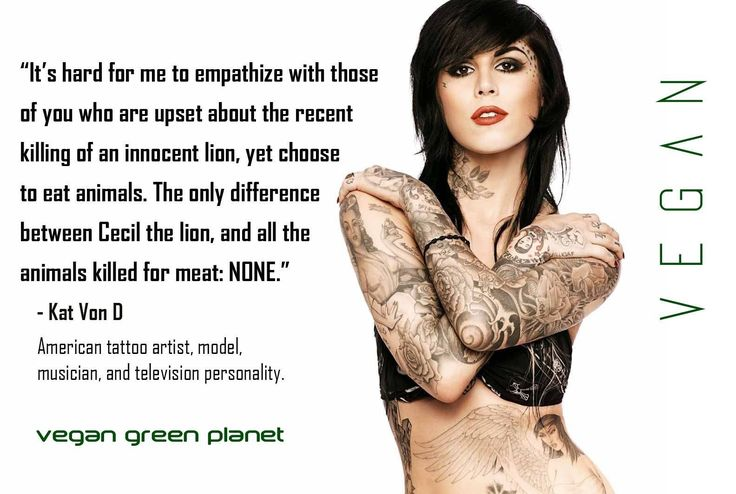 """Cecil the lion: """"It's hard for me to empathize with those of you who are upset about the recent killing of an innocent lion, yet choose to eat animals. The only difference between Cecil the lion, and all the animals killed for meat: NONE."""" - Kat Von D"""