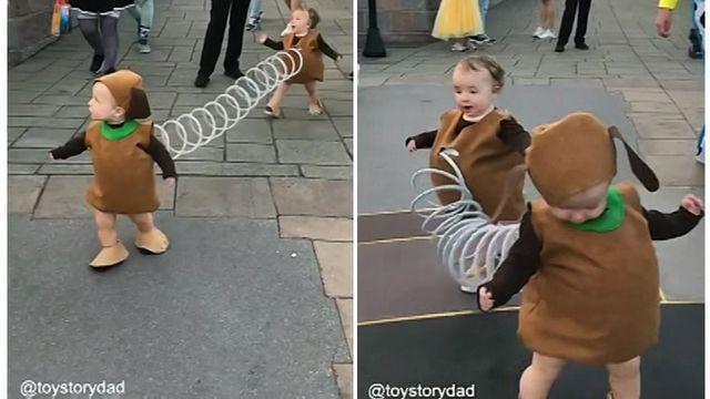 Toddlers Stick Together In Slinky Dog Costume Toddler Dog