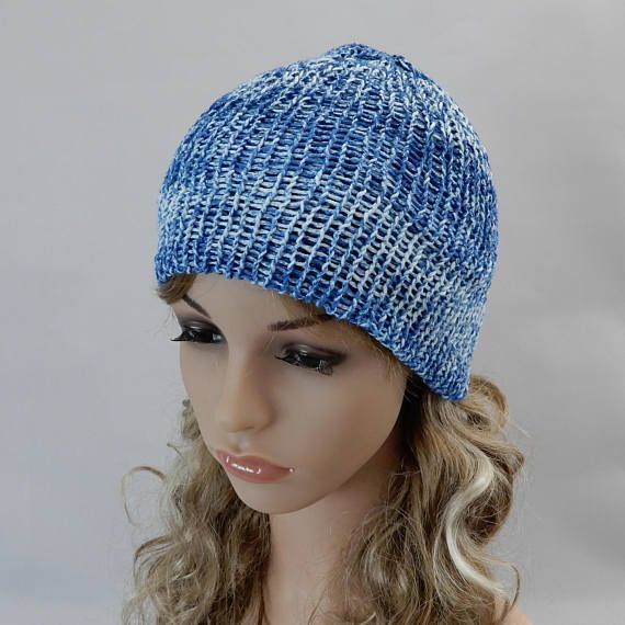 Cotton knit beanie hat adult Knit summer hat Denim blue hat