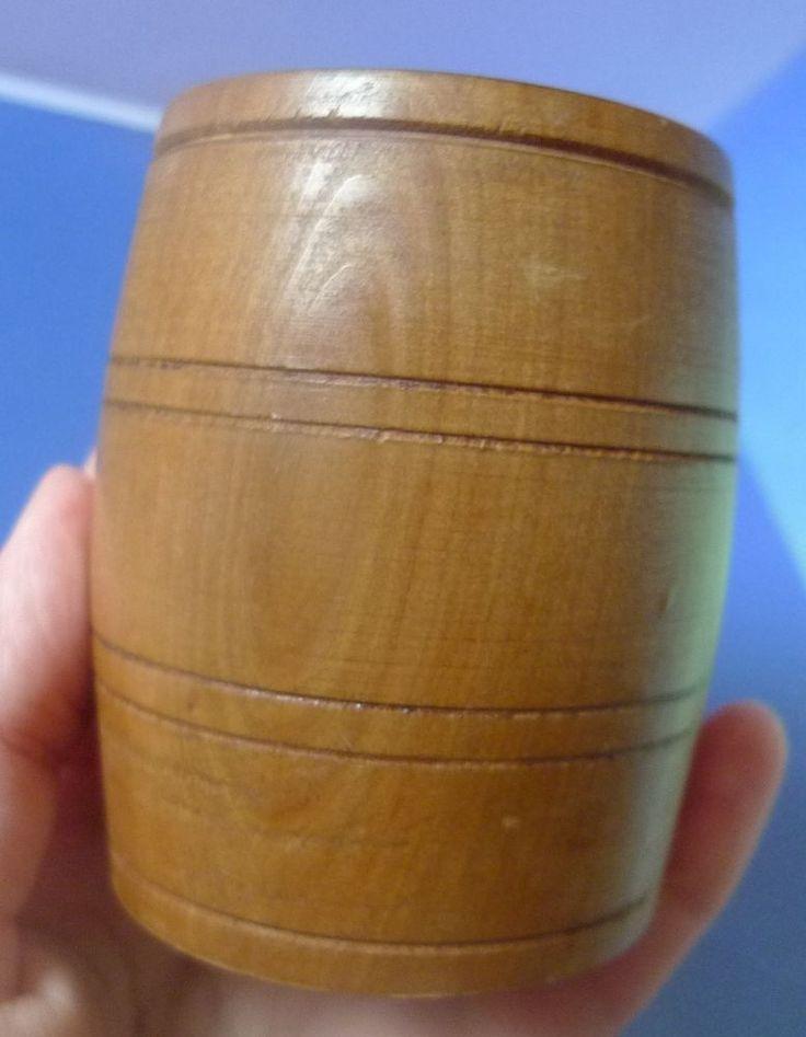 Vintage USSR Soviet Pottery Latvia Folk Art Wood rezboy Cup Vase Cask Barrel
