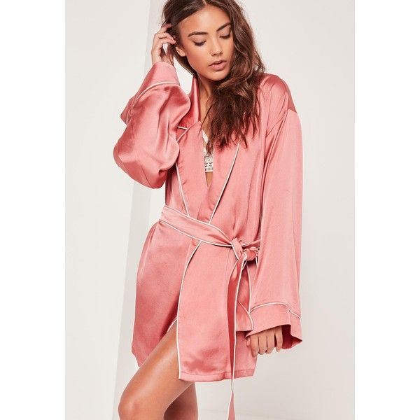 Missguided Kimono Piped Detail Silk Robe (63 AUD) ❤ liked on Polyvore featuring intimates, robes, pink bathrobe, silk slip, dressing gown, pink dressing gown and silk robe
