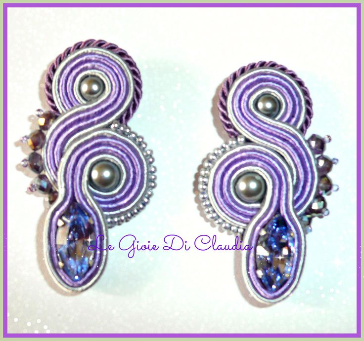 soutaches earrings with swarovski