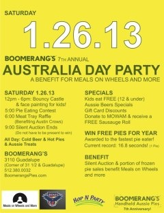Boomerang's 7th Annual Australia Day Party Benefiting Meals on Wheels and More, Sat., Jan. 26, 2013 | Austin, TX