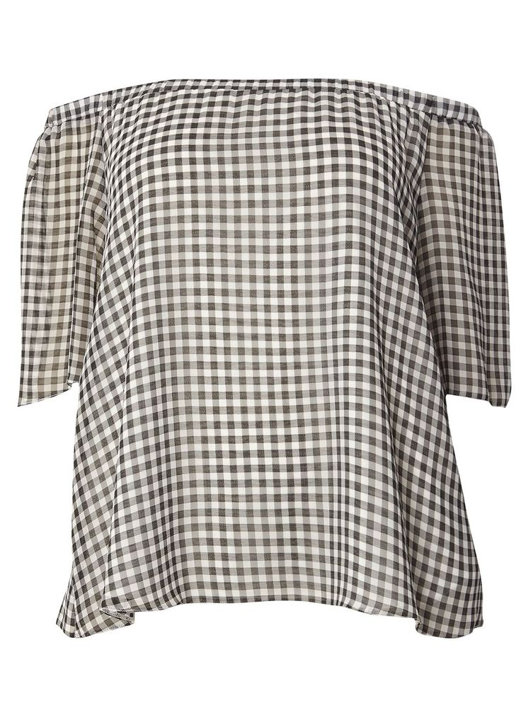 Black And White Gingham Bardot Top £32